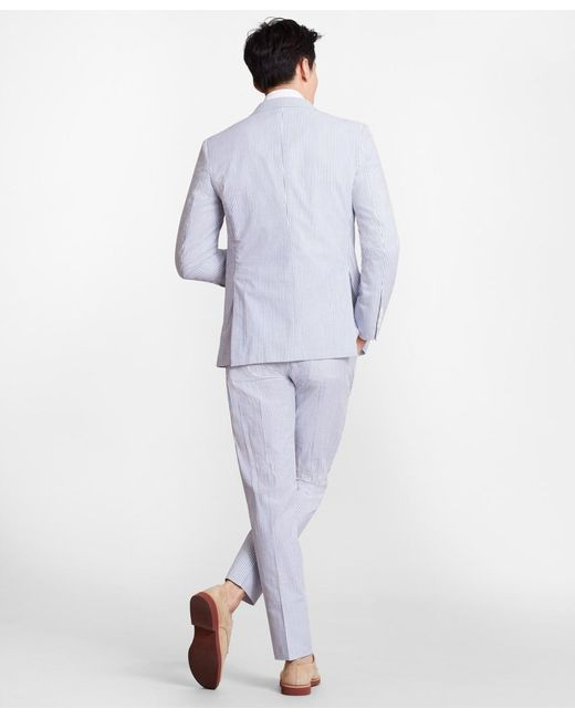 Brooks Brothers Cotton Extra Slim Fit Stripe Seersucker Suit In