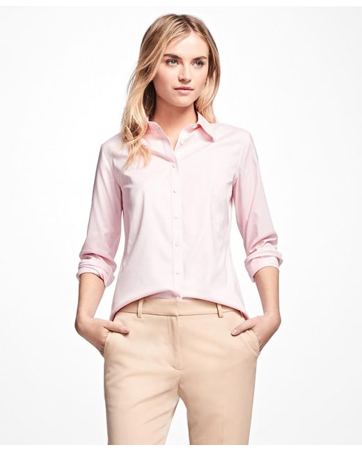 Brooks Brothers - Pink Petite Non-iron Fitted Dress Shirt - Lyst