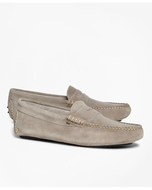 Brooks Brothers - Gray Suede Driving Mocs for Men - Lyst