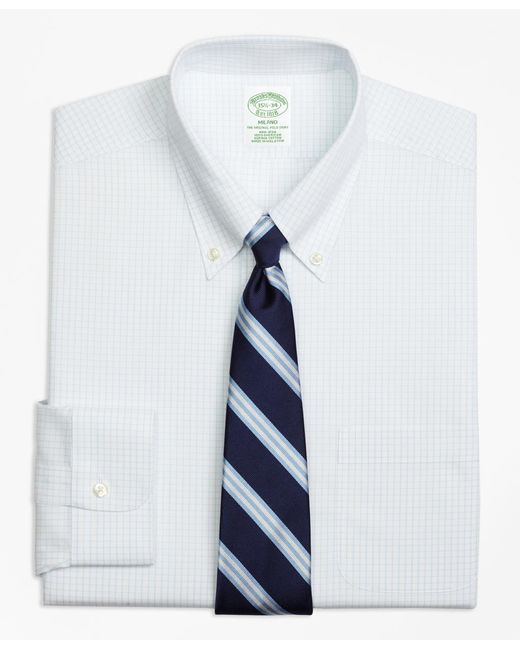 Brooks Brothers - White Non-iron Milano Fit Graph Check Dress Shirt for Men - Lyst