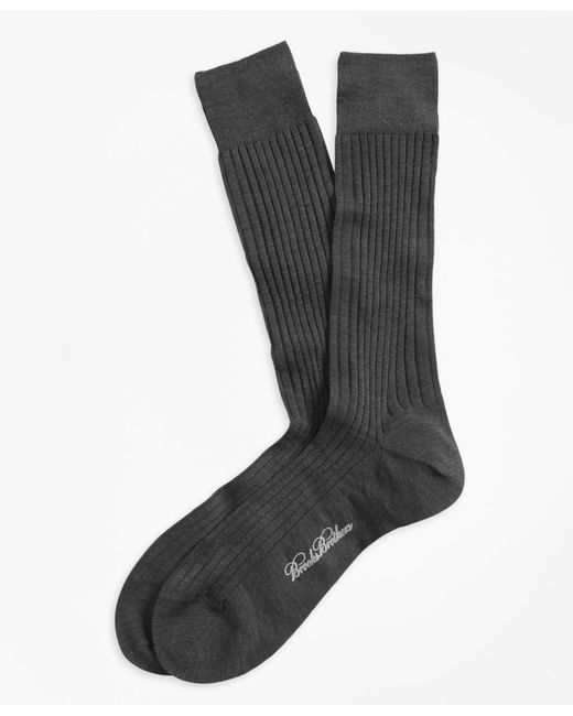 Brooks Brothers - Gray Merino Wool Ribbed Crew Socks for Men - Lyst