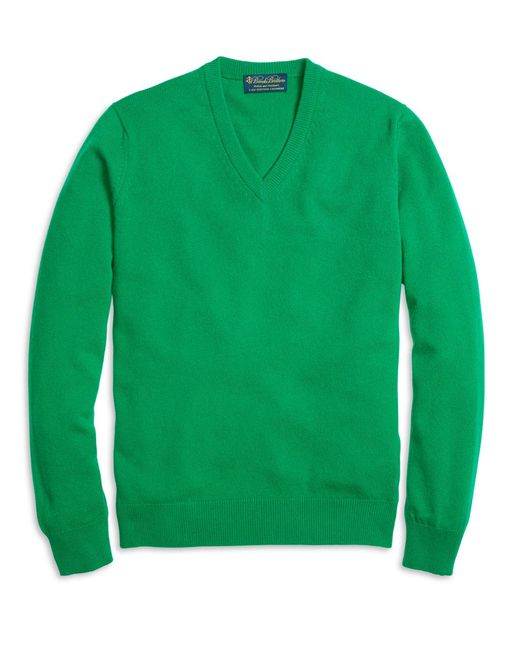 Brooks Brothers - Green Cashmere V-neck Sweater for Men - Lyst
