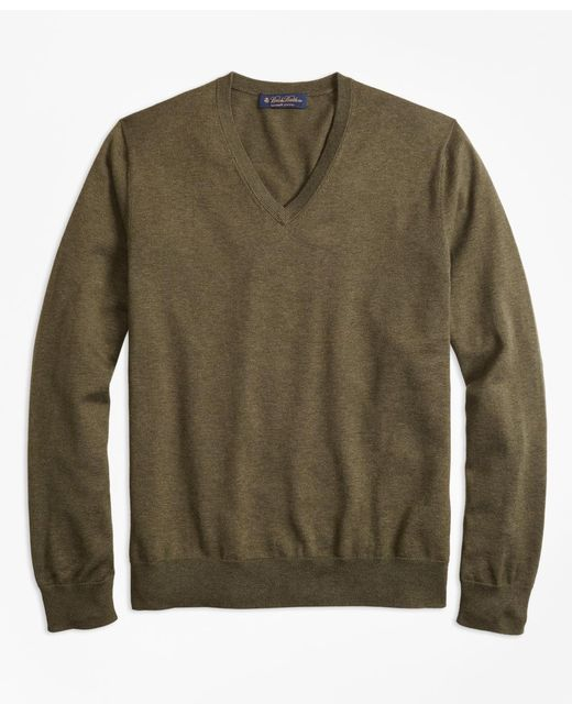 Brooks Brothers - Green Supima® Cotton V-neck Sweater for Men - Lyst