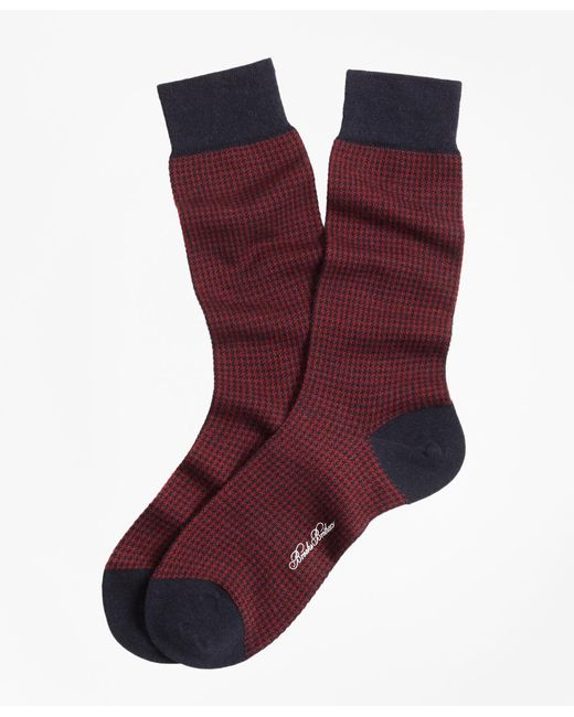 Brooks Brothers - Red Houndstooth Crew Socks for Men - Lyst