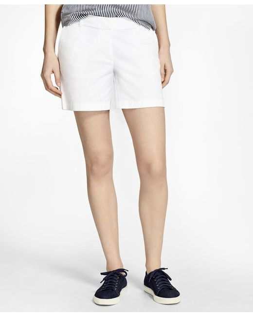 Brooks Brothers - White Stretch Cotton Twill Shorts - Lyst