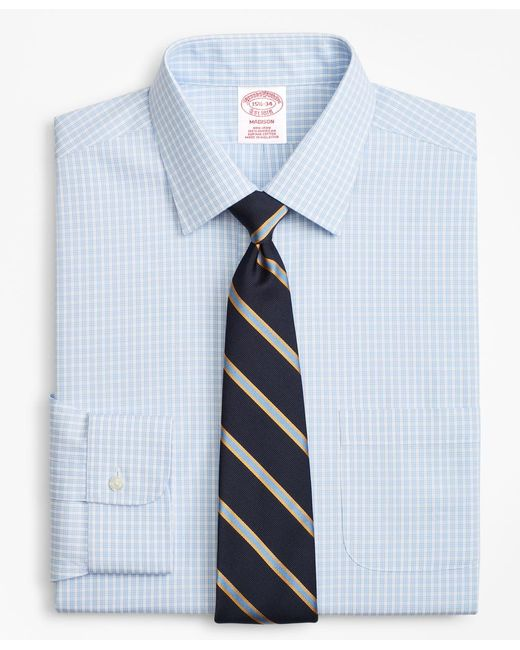 Brooks Brothers - Blue Madison Classic-fit Dress Shirt, Non-iron Triple Check for Men - Lyst