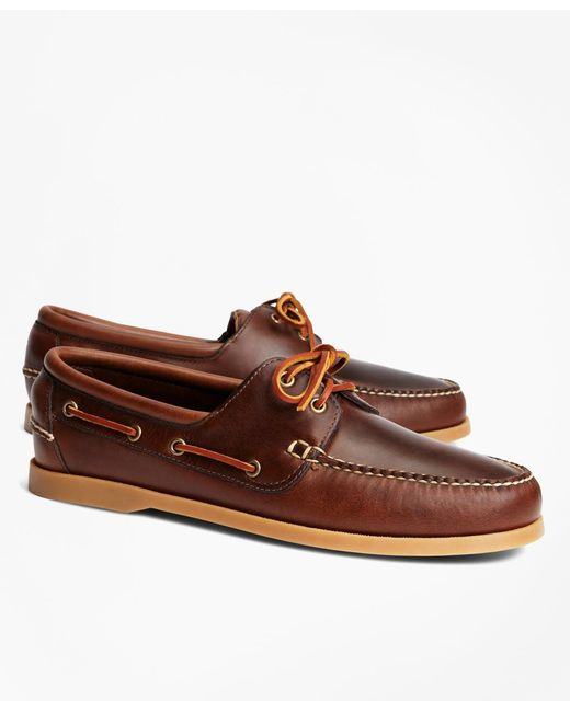 Brooks Brothers - Brown Leather Boat Shoes for Men - Lyst