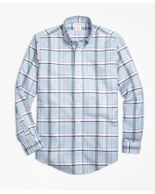 Brooks Brothers | Blue Non-iron Madison Fit Plaid Sport Shirt for Men | Lyst