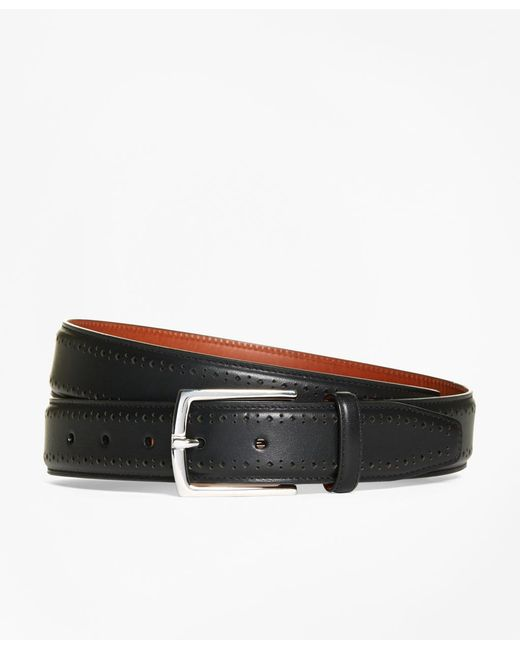 Brooks Brothers - Black Leather Perforated Belt for Men - Lyst