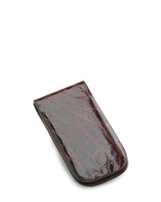 Brooks Brothers Brown American Alligator Money Clip for men