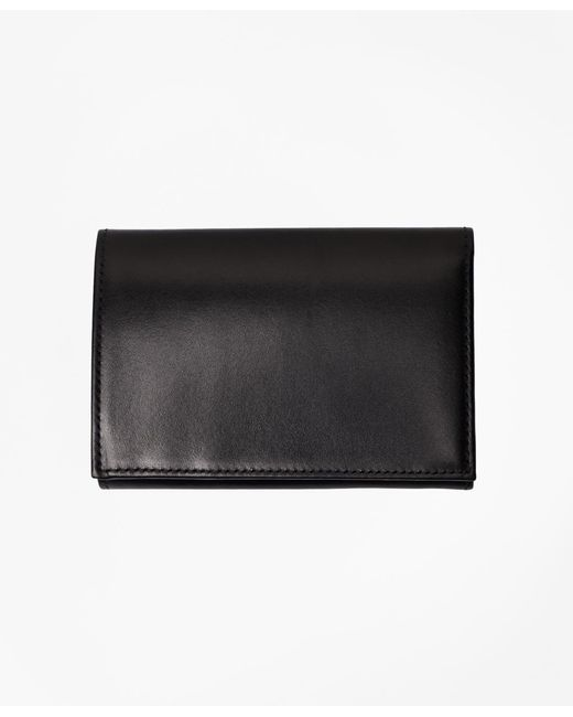 Brooks Brothers - Black French Calfskin Trifold Wallet for Men - Lyst