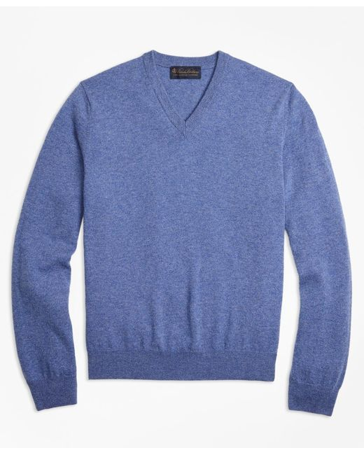 Brooks Brothers - Blue Two-ply Cashmere V-neck Sweater for Men - Lyst