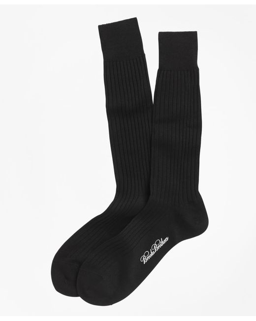 Brooks Brothers Blue Egyptian Cotton Ribbed Crew Socks for men