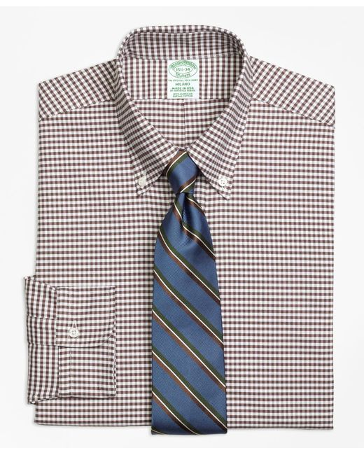Brooks Brothers - Brown Milano Fit Original Polo® Button-down Oxford Gingham Dress Shirt for Men - Lyst