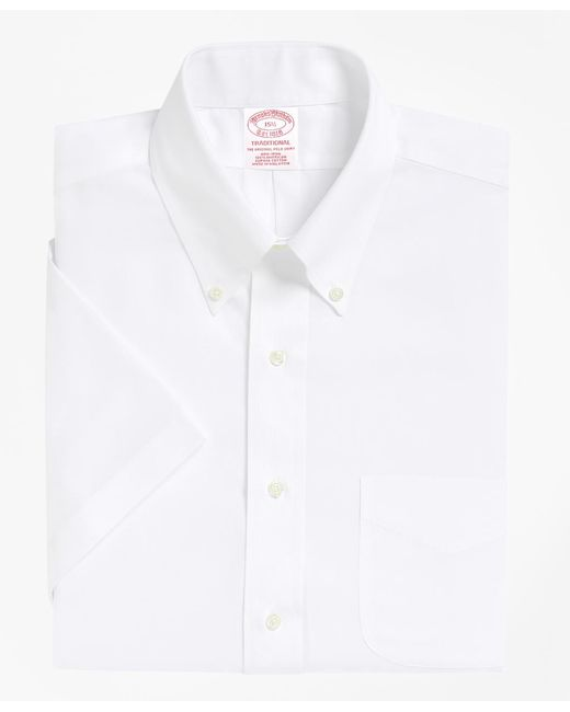 Brooks Brothers - White Non-iron Traditional Fit Short-sleeve Dress Shirt for Men - Lyst