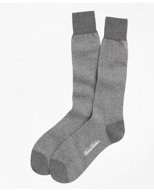Brooks Brothers Gray Cotton Bird's Eye Crew Socks for men
