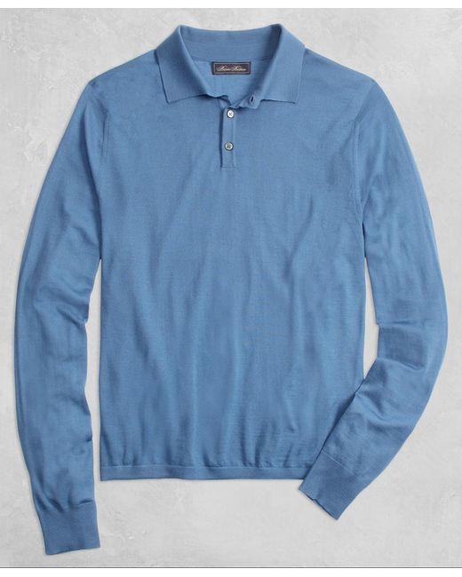 Brooks Brothers - Blue Golden Fleece® 3-d Knit Fine Gauge Merino Polo Sweater for Men - Lyst