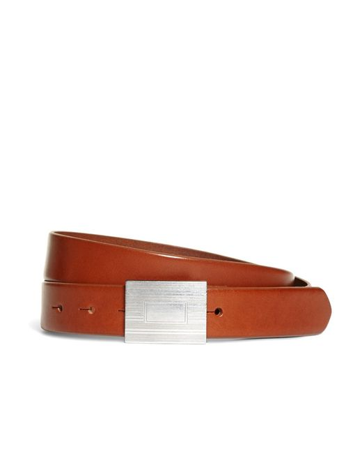Brooks Brothers - Brown Plaque Buckle Belt for Men - Lyst
