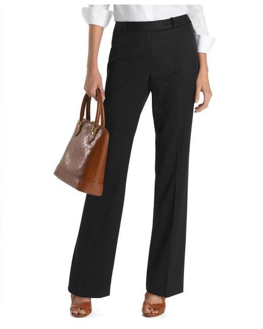 Brooks Brothers | Black Petite Plain-front Caroline Fit Gabardine Dress Trousers | Lyst