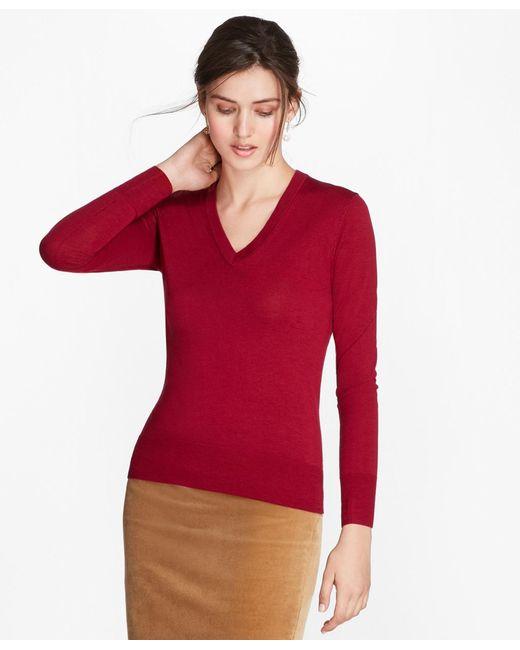 Brooks Brothers   Red Saxxon Wool V-neck Sweater   Lyst