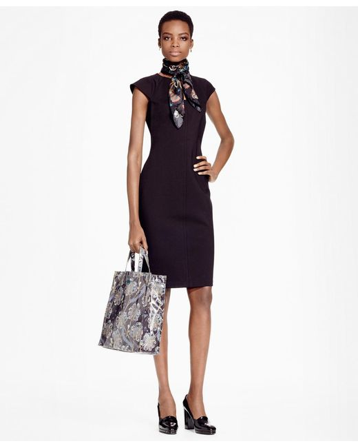 Brooks Brothers | Black Ponte Knit Sheath Dress | Lyst