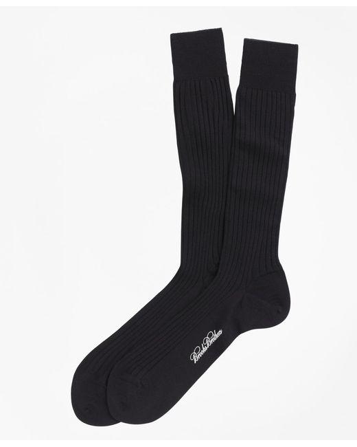 Brooks Brothers - Blue Merino Wool Ribbed Crew Socks for Men - Lyst