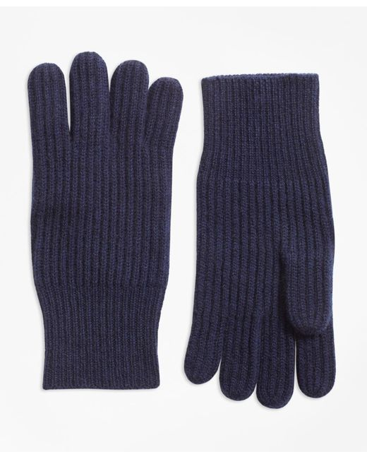 Brooks Brothers - Blue Ribbed Cashmere Gloves for Men - Lyst
