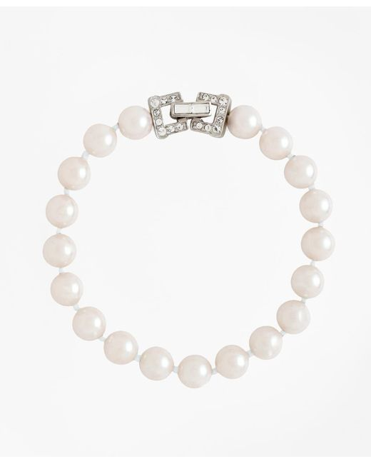 """Brooks Brothers   White 7.5"""" 8mm Glass Pearl Bracelet With Deco Clasp   Lyst"""