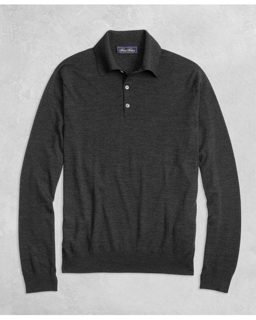 Brooks Brothers - Gray Golden Fleece® 3-d Knit Fine-gauge Merino Long-sleeve Polo for Men - Lyst