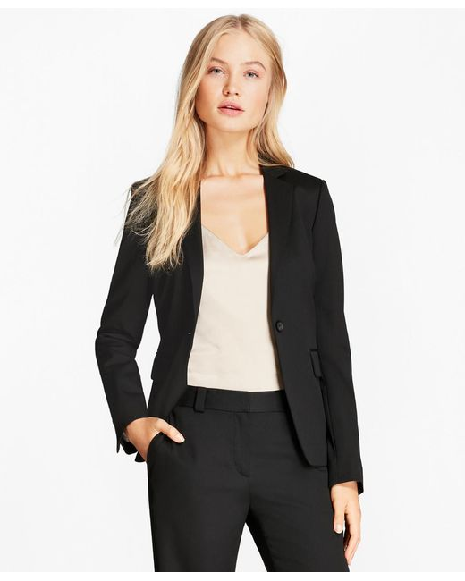 Brooks Brothers Black Stretch Wool One-button Jacket