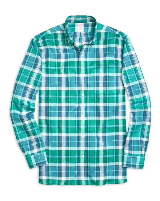 Brooks Brothers - Green Madison Fit Madras Short-sleeve Sport Shirt for Men - Lyst