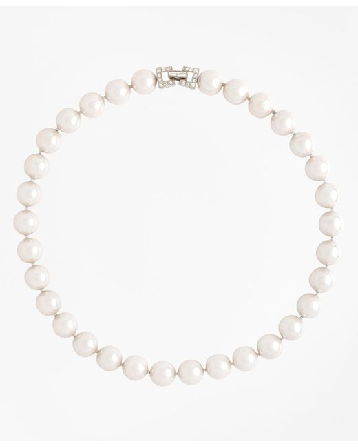 """Brooks Brothers - White 17"""" 12mm Glass Pearl Necklace With Deco Clasp - Lyst"""