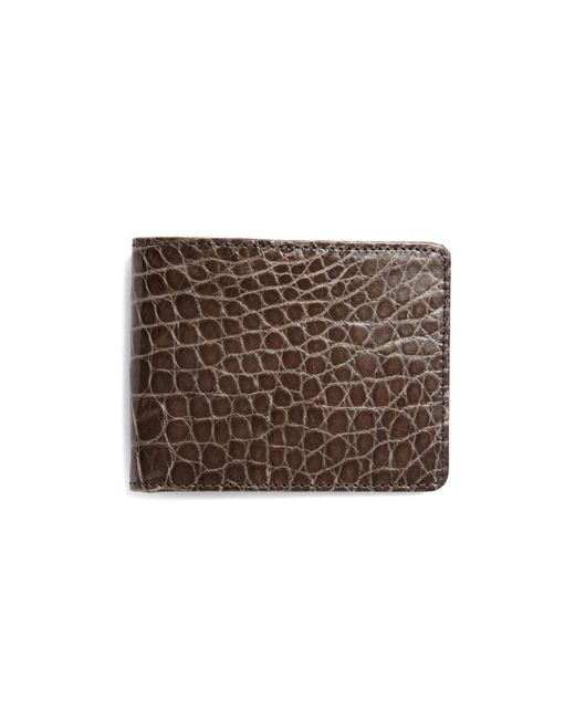 Brooks Brothers - Gray Slim Alligator Wallet for Men - Lyst