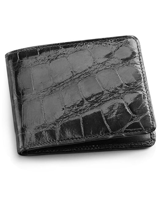 Brooks Brothers Black Alligator Card Case With Money Clip for men