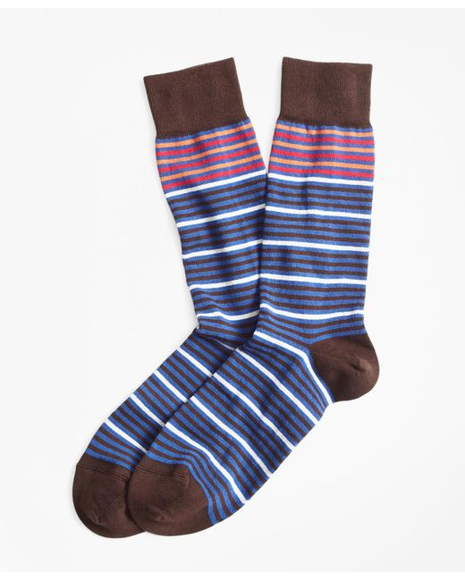 Brooks Brothers - Blue Striped Crew Socks for Men - Lyst