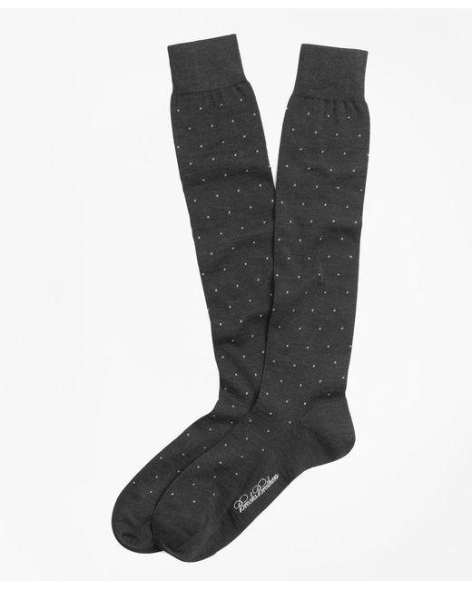 Brooks Brothers - Gray Merino Wool Big Dot Over-the-calf Dress Socks for Men - Lyst
