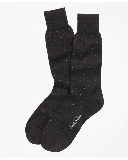 Brooks Brothers Gray Merino Wool Big Dot Crew Socks for men