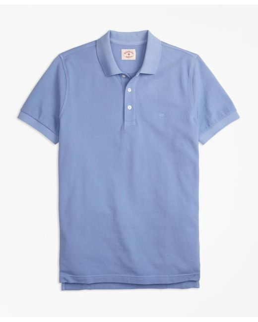 Brooks Brothers - Blue Garment-dyed Cotton Pique Polo Shirt for Men - Lyst