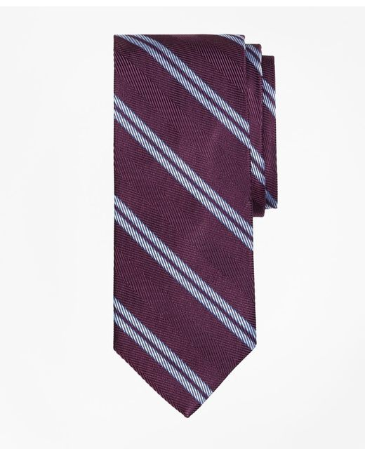 Brooks Brothers - Purple Herringbone Double Stripe Tie for Men - Lyst
