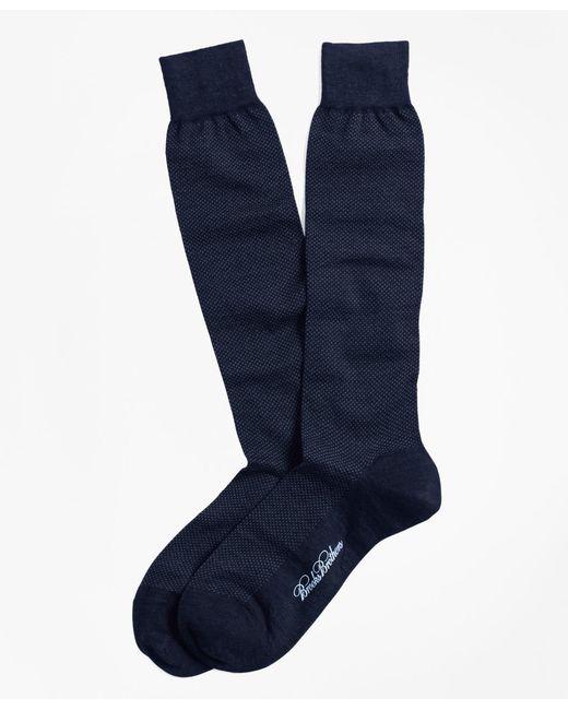Brooks Brothers - Black Merino Wool Mini Dot Over-the-calf Socks for Men - Lyst