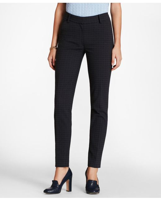 Brooks Brothers - Blue Petite Plaid Stretch-cotton Jacquard Ankle Pants - Lyst