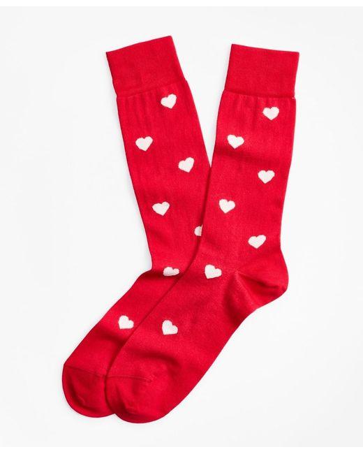 Brooks Brothers Red Heart Crew Socks for men