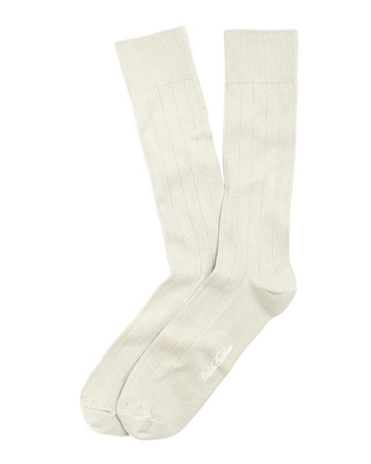 Brooks Brothers Natural Ribbed Crew Socks for men