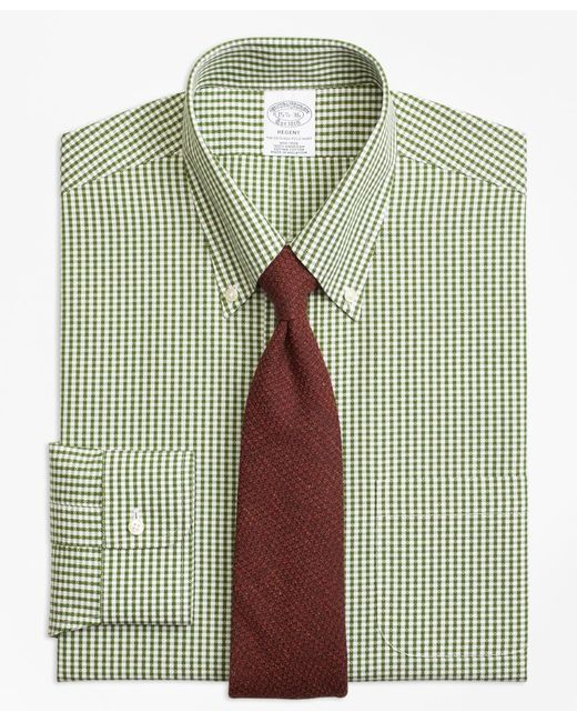 Brooks brothers non iron regent fit dobby gingham dress for Mens green gingham dress shirt
