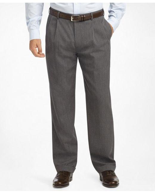 Brooks Brothers | Gray Madison Fit Pleat-front Classic Gabardine Trousers for Men | Lyst