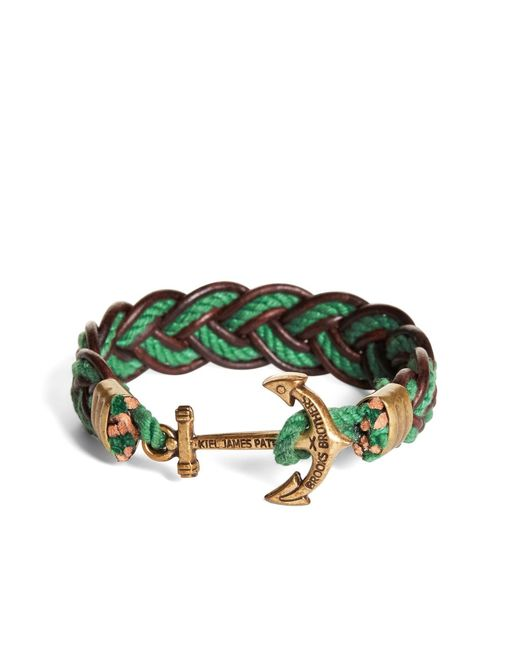 Brooks Brothers | Kiel James Patrick Green And Brown Leather Braided Bracelet for Men | Lyst