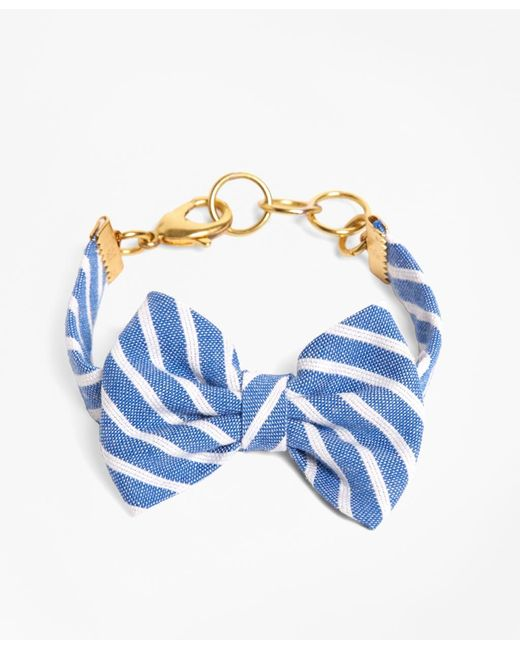 Brooks Brothers | Kiel James Patrick Light Blue Stripe Bow Bracelet | Lyst