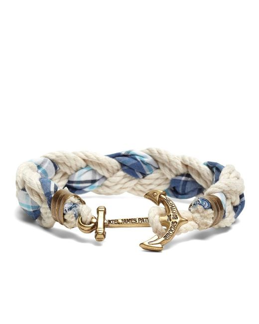 Brooks Brothers | Blue Kiel James Patrick Seersucker Plaid Braided Bracelet for Men | Lyst