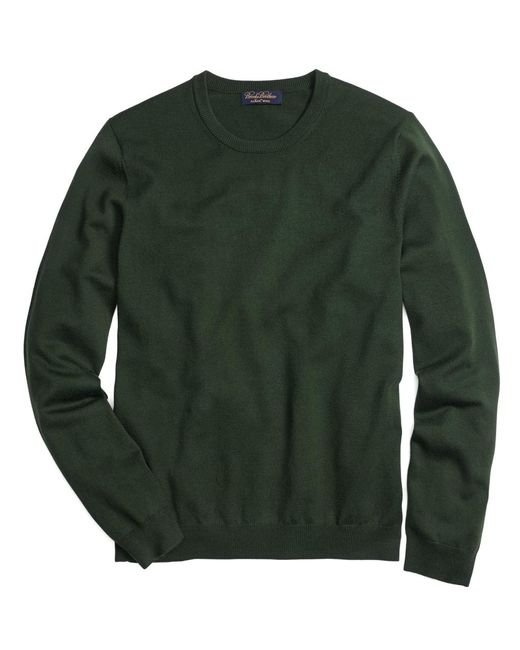 Brooks Brothers | Green Saxxon Wool Crewneck Sweater for Men | Lyst