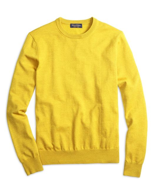 Brooks Brothers | Yellow Saxxon Wool Crewneck Sweater for Men | Lyst
